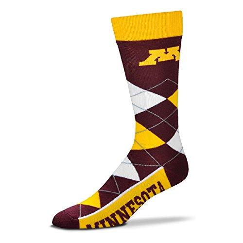 Minnesota Golden Gophers Acrylic Football - For Bare Feet NCAA Argyle Lineup Unisex Crew Dress Socks-One Size Fits Most-Minnesota Golden Gophers