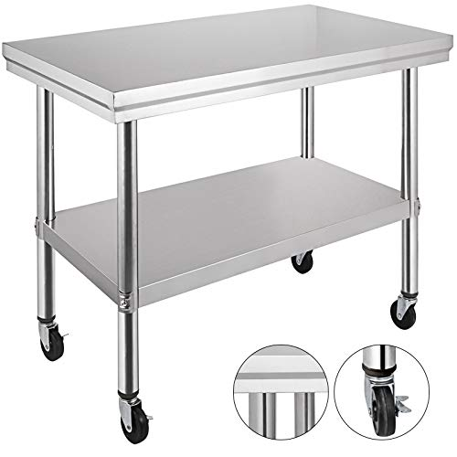 Mophorn Stainless Steel Work Table 36x24 Inch with 4 Wheels Commercial Food Prep Worktable with Casters (Kitchen Cart Stainless)