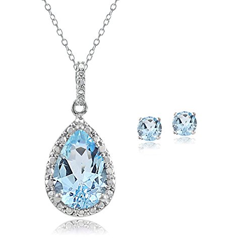 Sterling Silver Blue Topaz Teardrop Necklace & Earrings -