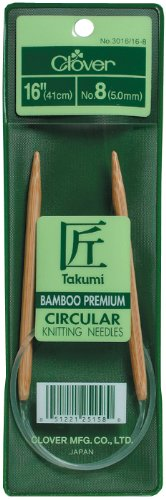 Clover Takumi Bamboo Circular 16-Inch Knitting Needles, Size 10