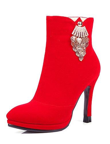 Stiletto Eu37 5 Botas Cn37 Zapatos us8 5 A Fiesta Red Ante Uk4 Sintético La Mujer Red Vestido Tacón Cn39 Xzz De Negro Noche 5 Uk6 7 Eu39 Moda Y us6 Rojo IqnxF