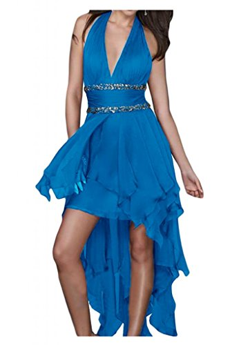 Toskana novia Chic Neck Holder Hi-Lo Noche de gasa Vestidos Largo novia Vestidos de Fiesta en Ball Azul
