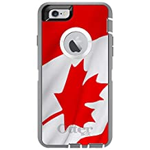 """CUSTOM Glacier OtterBox Defender Series Case for Apple iPhone 6 (4.7"""" Model) - Red White Canadian Flag Canada"""