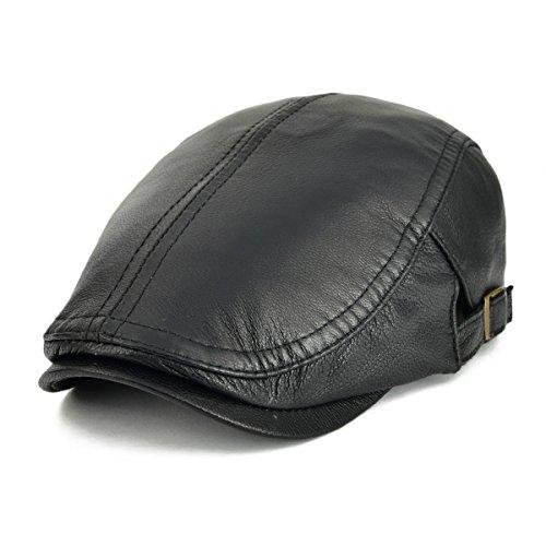 (VOBOOM Men Women Adjustable Genuine Leather Ivy Cap Newsboy hat 121)