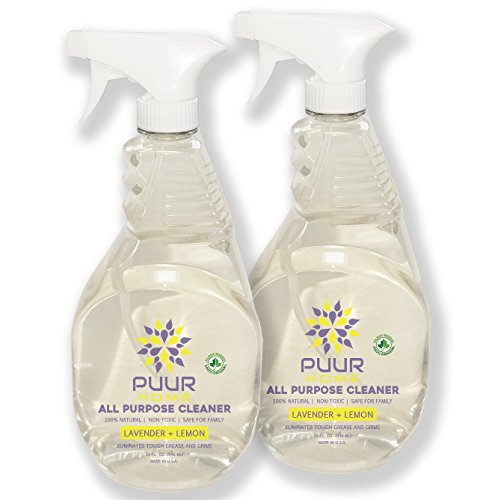 PUUR Home Natural All Purpose Cleaner. Best Value 32 oz (2-Pack - 64 oz Total) Lemon Lavender Scent. Plant derived - Non-Toxic - Baby Safe and Pet Safe by PUUR Home