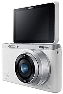 """Samsung NX Mini 20.5MP CMOS Smart WiFi & NFC Mirrorless Digital Camera with 9mm Lens and 3"""" Flip Up LCD Touch Screen (White)"""