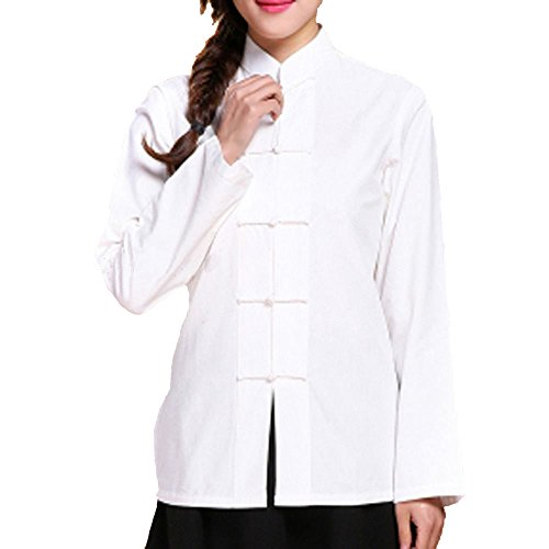 YOUMU Women Traditonal Chinese Style Top Blouse Long Sleeves Mandarian Collar Frog Button Casual for Tea Drinking Cosplay by YOUMU