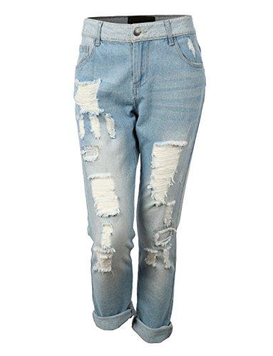 RubyK Womens Lightweight Distressed Ripped Roll Up Boyfriend Jeans