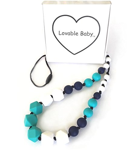 Silicone Teething Necklace Non toxic turquoise