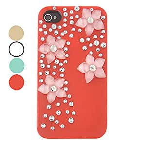 DIY Four Flowers Ornament Plastic Back Case for iPhone 5/5S(Assorted Color) --- COLOR:Red