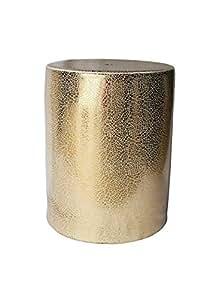Benzara Shiny Decorative Ceramic Garden Stool, Gold
