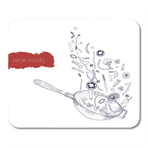 "Boszina Mouse Pads Monochrome Realistic Drawing of Wok Pan and Vegetables Mushrooms Noodles Spices Frying and Tossing Up Mouse Pad 9.5"" x 7.9"" for Notebooks,Desktop Computers Office Supplies"