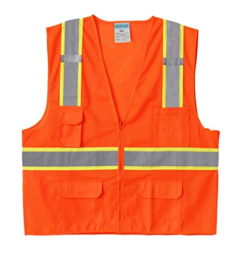 SHORFUNE High Visibility Safety Vest with Pockets, Mic Tabs, Zipper and Reflective Strips, Meets ANSI/ISEA Standards, Orange, L -