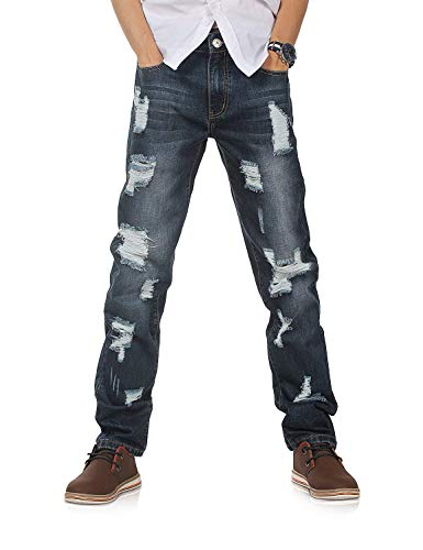 con De Jeans Serie Pantalones Mezclilla Mezclilla De Recto La Recto Joven Mezclilla con De para Pantalones 802r7xblau Corte 802R Pantalones Yasminey De Destruidos Hombre Corte YqxzwOABA