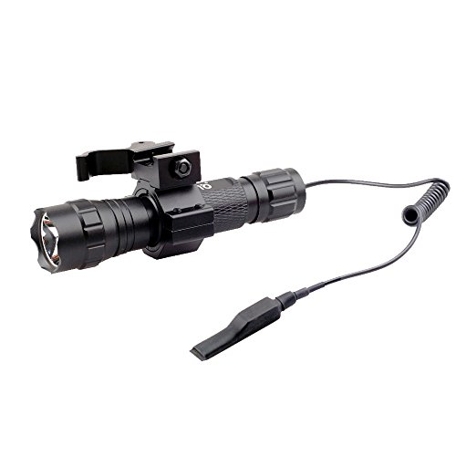 CISNO 1000 Lumens Tactical Flashlight Light With Mount and Pressure Switch For Picatinny Quad Rail Rifle