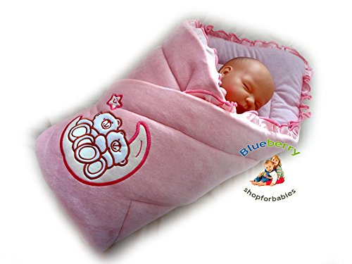 BlueberryShop Embroidered Velour Swaddle Wrap Blanket Sleeping Bag for Newborn baby shower...