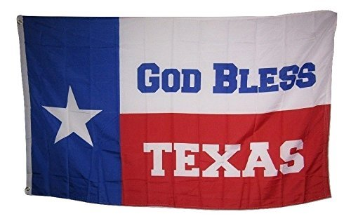 MWS 3x5 GOD BLESS TEXAS Lone Star State Flag Super Polyester Nylon Flag 3'x5' House Banner 90cm x 150cm Grommets Double Stitched Premium Quality Indoor Outdoor Pole Pennant (New)