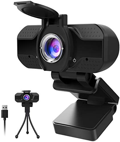 1080P Webcam with Microphone and Privacy Cover, Computer Camera with Tripod, Web Cameras for Computers Laptop Video Calling Recording Conferencing, Plug and Play, Web Cam USB Camera for Zoom