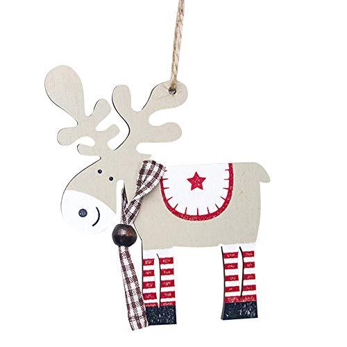 ASERTYL Painted Wood Elk Pendant Christmas Tree Decoration Xmas Decor Deer Ornaments