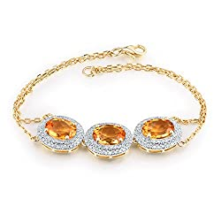 Yellow Gold Natural Diamond Citrine Bracelet