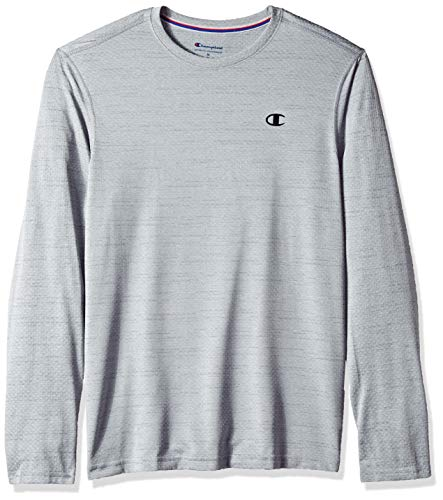 1b2582038f8 Champion Men's Double Dry Mesh Heather Long Sleeve T-Shirt, Concrete  Heather, X
