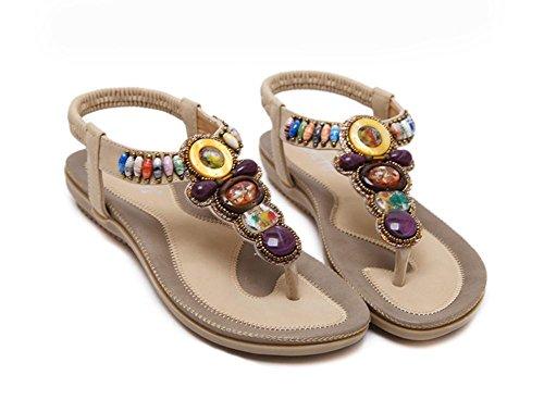 42 De Apricot Las Los Cuentas Planos Zapatos Gran 44 Tamaño Sandalias gFx8xvq
