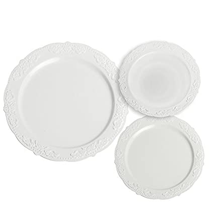Party Joy 'I Can't Believe its Plastic' Royal White Plastic Dinner Set