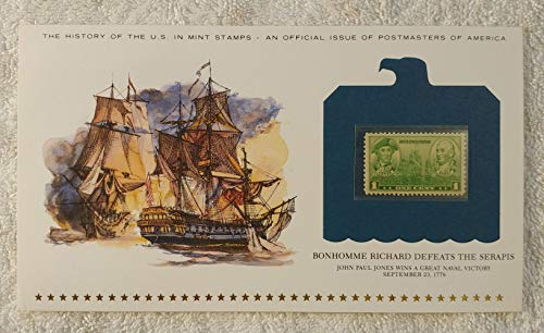 Bonhomme Richard Defeats the Serapis - John Paul Jones Wins a Great Naval Victory - Postage Stamp (1936) & Art Panel - History of the United States: an official issue of Postmasters of America - Limited Edition, 1979 - Revolutionary War