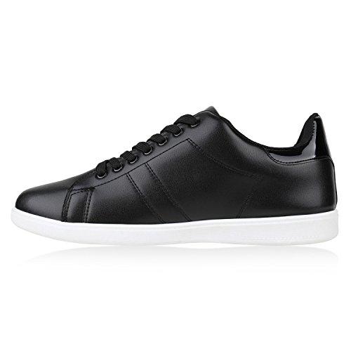 Stiefelparadies Damen Sneaker Low Basic Flandell Schwarz Weiss Brooklyn