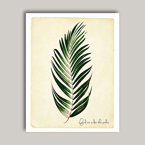 Find Me Under The Palms - Tropical Palm Leaf Art Print Poster - Contemporary Boho Home & Kitchen Wall Art Home Decor 11x14 inches, Unframed