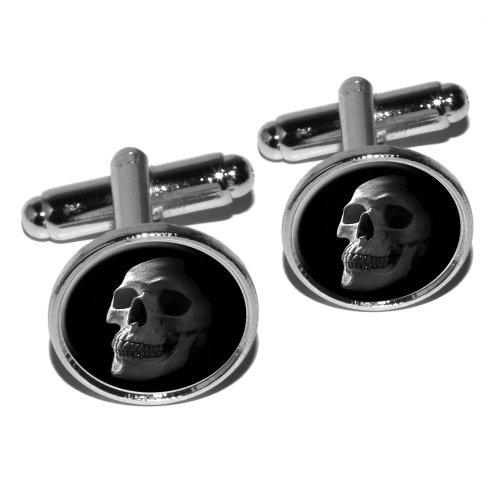 Human Skull Skeleton Cufflink Silver
