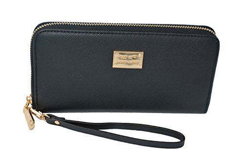 Long style zipper Wallet, Ladies Purse, Women's Handbag (Black)