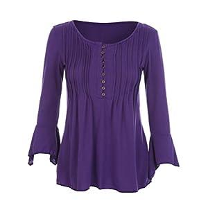 Women Tops, Gillberry Women Autumn Flare 3/4 Sleeve Slim V Neck Buttons Blouse Tops Tee Shirt (XXL, Purple)