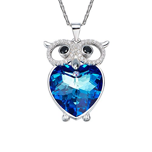 [D.B.MOOD Women's Charm Owl Necklaces Heart Pendant Necklace Make with Austria Crystal Silver] (Simple Halloween Costumes For High School)