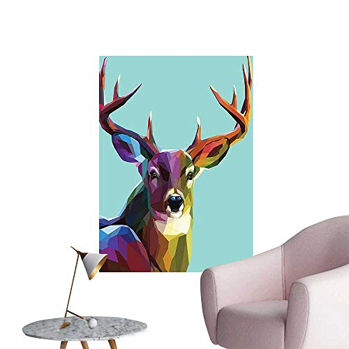 """Wall Stickers for Living Room Low Poly Deer Psychedelic Polyg al Stylized Retro Work Vinyl Wall Stickers Print,12""""W x 16""""L"""