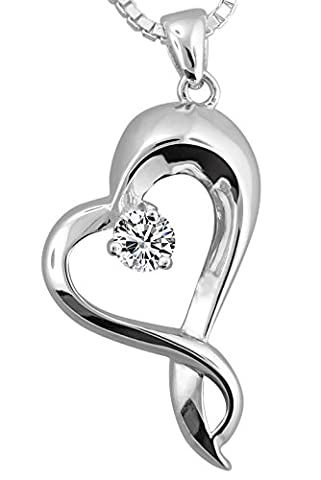 Sterling Silver Embracing Heart Urn Pendant WIth 18 Inch Sterling Silver Box (sterling-silver)