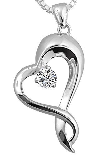 Sterling Silver Embracing Heart Urn Pendant WIth 18 Inch Sterling Silver Box (sterling-silver) by Forever Urn Jewelry