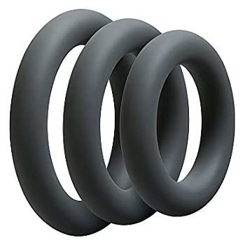 Doc Johnson OptiMALE - Thick 3 C-Ring Set - Stretchy Silicone - Slate