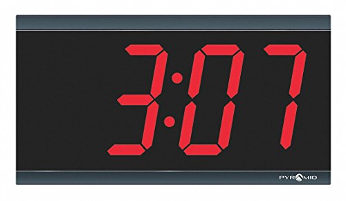 Pyramid 6-1/4 x 11-1/2 Rectangle LED Wall Clock, Black ABS Plastic Frame