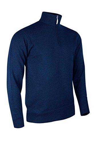 Glenmuir Mens Zip Neck Lambswool Sweater Navy L