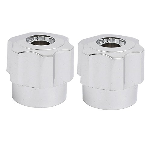 uxcell 2pcs 35mmx32mm Zinc Alloy Faucet Water Tap Handle Knob Silver Tone