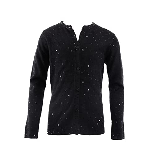Pinc Premium Big Girls' Sequin Cardigan 5 Black (Pinc Premium Toddler)