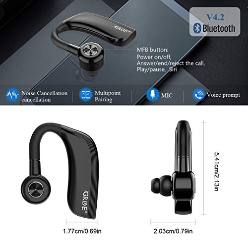 Auricular Bluetooth 4.2, Auricular Manos Libres con Duración 22 Horas Para IPhone Android Auriculares Bluetooth Inalámbrico con Cancelación de Ruido...