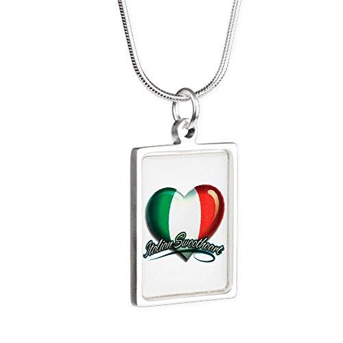 Silver Portrait Necklace Italian Sweetheart Italy (Heart Pendant Necklace Portrait)