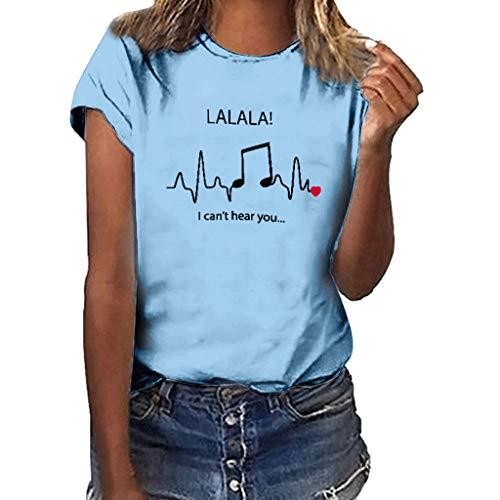 Benficial Women Girls Plus Size Print Shirt Short Sleeve T Shirt Blouse Tops Sky Blue