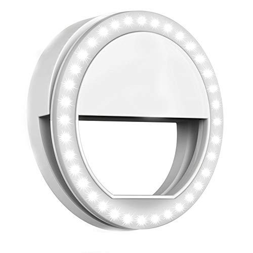 Selfie Ring Light, Rechargeable Clip on Selfie Fill Light with 36 LED Light, 3-Level Adjustable Brightness Compatible for iPhone, iPad, Android, Tablet, Laptop, Camera Video (White)