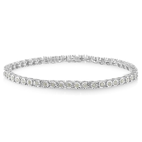 (Sterling Silver Rose Cut Diamond Miracle Tennis Bracelet (1 cttw, I-J Color, I3 Clarity) (White, 7.00))