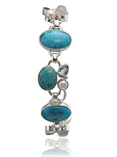 aarohee en argent sterling avec pierre de lune pierres semi-précieuses et perles Bracelet Simple Mèche pour femme aau123