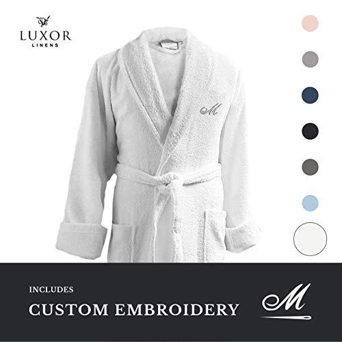 Luxor Linens - Terry Cloth Bathrobe in a Variety of Colors - 100% Egyptian Cotton - Luxurious, Soft, Plush Durable Robe - White (Monogram Bathrobes)