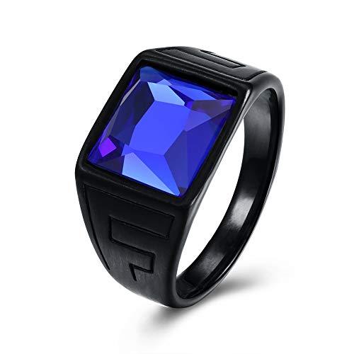 FENDINA Men Vintage Square CZ Crystal Stone Titanium Steel Ring Band Gothic Biker Knight Sapphire Blue Black
